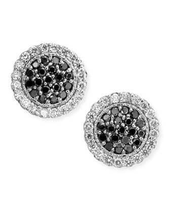 Pav?? Stud Earrings with Black and White Diamonds