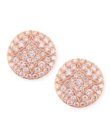 18k Rose Gold Pav� Diamond Small Stud Earrings