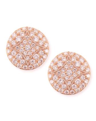 18k Rose Gold Pav?? Diamond Small Stud Earrings