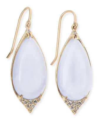 18K Pave-Point Drop Earrings with Blue Chalcedony