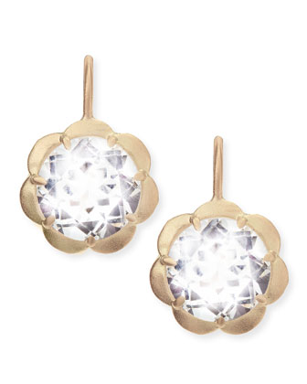 Petite Scalloped Drop Earrings with White Topaz