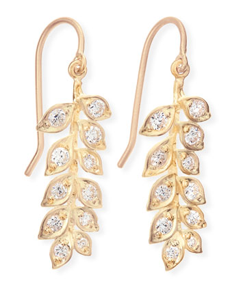 18k Small Vine Earrings with Diamonds