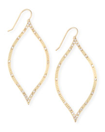 18k Golden Engraved Leaf Earrings with Diamonds