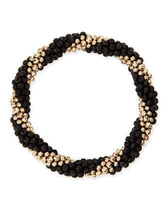 Audrey 14k Gold and Black Onyx Bead Bracelet