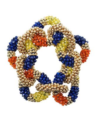 14k Lapis, Carnelian and Zircon Link Bracelet