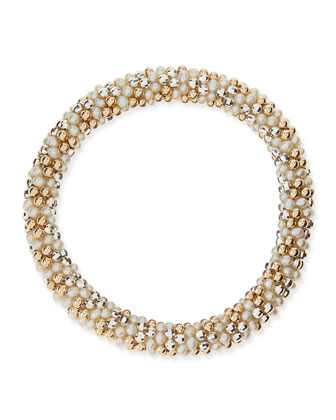 Sue Pearl, Silver and 14k Gold Bead Bracelet