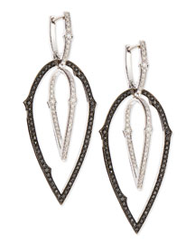 18K 3D Hoop Earrings with Black and White Diamonds