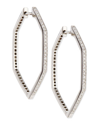 18K Deco Hoop Earrings with Black and White Diamonds