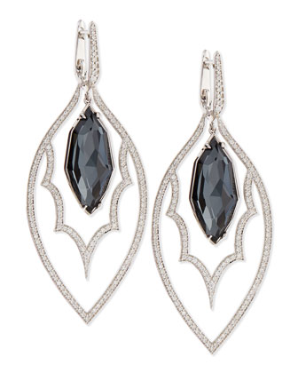 18K Pav?? Drop Earrings with Hematite