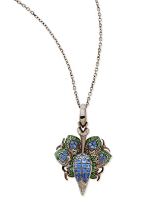 18K Pride Pendant Necklace with Diamonds, Sapphires, and Tsavorite
