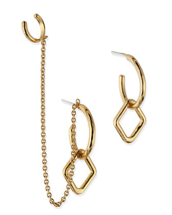 Mini Machina Gold Plate Earrings with Cuff