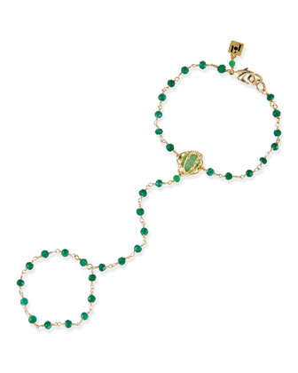 Penelope Caged Agate Hand Piece, Green