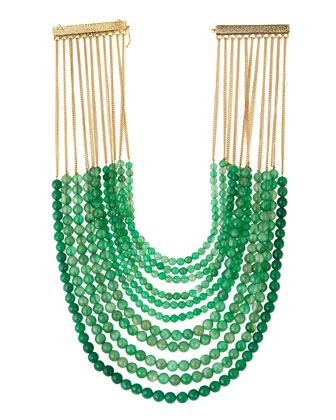 Raissa Green Agate Multi-Row Bib Necklace