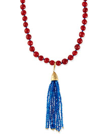 Himalaya Two-Tone Agate Tassel Necklace, Red/Blue