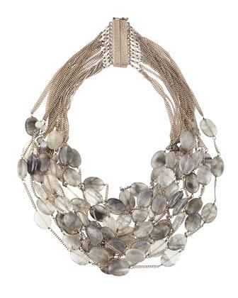 Sacramento Multi-Strand Gray Quartz Collar Necklace