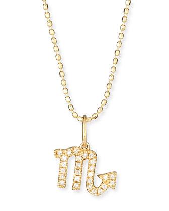Pave Diamond Zodiac Necklace, Scorpio