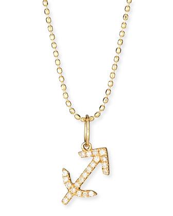 Pave Diamond Zodiac Necklace, Sagittarius