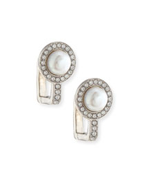 Small Pearl & Crystal Clip-On Earrings
