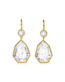 18K Gold & White Topaz Byzantine Drop Earrings