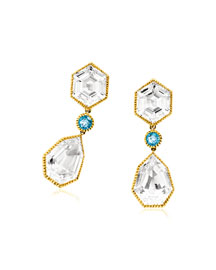 Topaz Byzantine Pendant Clip Earrings
