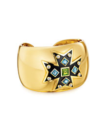 Peridot, Topaz & Diamond Maltese Cross Cuff Bracelet