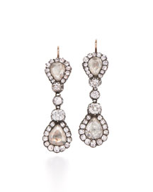 Antique Rose-Cut Diamond Drop Earrings