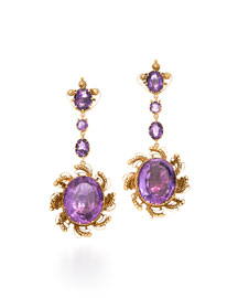 Georgian Scrolling Amethyst Drop Earrings, circa 1820