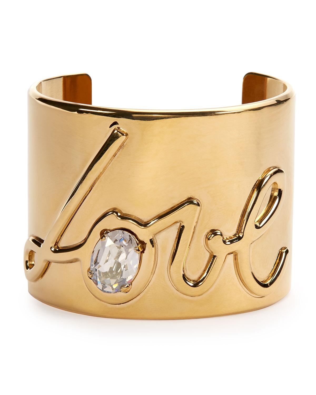 Lanvin Brass Love Cuff Bracelet, GOLD