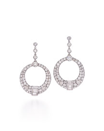 Art Deco Diamond Geometric Hoop Earrings