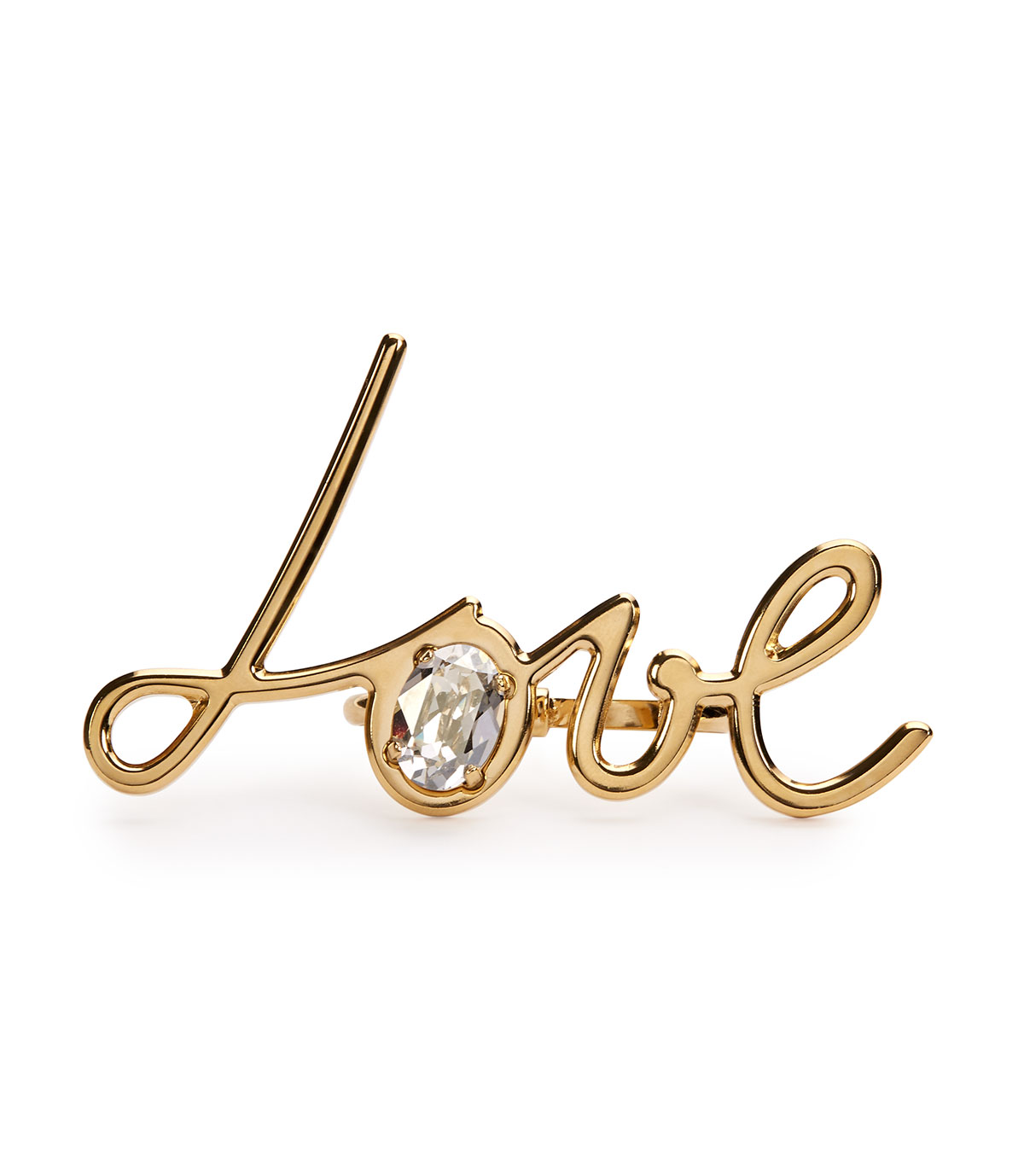 Lanvin Two-Finger Golden Love Ring, GOLD
