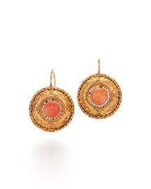 19th Century Coral & Seed Pearl Etruscan Revival Earrings