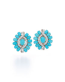 Contemporary Turquoise & Diamond Clip Earrings