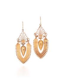 19th Century Gold Urn Pendant Earrings