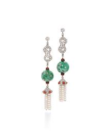 Contemporary Jade Bead, Diamond & Coral Triple-Drop Earrings