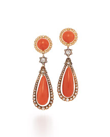 19th Century Coral & Diamond Teardrop Earrings