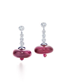 Contemporary Ruby Bead & Diamond Drop Earrings