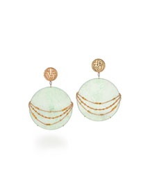Contemporary Gold & Jade Disc Earrings