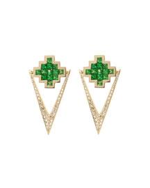 Tsavorite & Brown Diamond V Drop Earrings