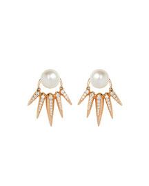 Spectrum 18K Pearl Earrings w/Diamond Spikes