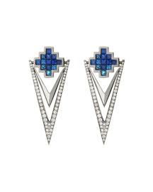 Blue Sapphire & Diamond V Drop Earrings
