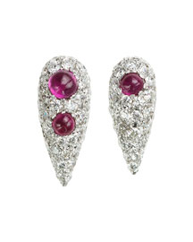 White Diamond & Ruby Cabochon Spectrum Earrings