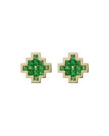 Tsavorite V Button Earrings