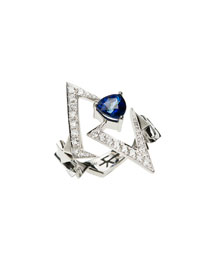 White Diamond & Blue Sapphire V Ring