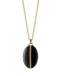 18K Gold Diamond-Striped Ceramic Locket Necklace, 32