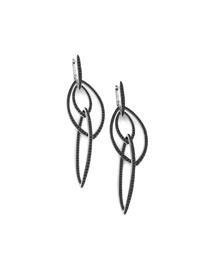 Pav� Black Diamond Thorn Link Earrings