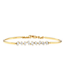 18K Gold Mixed Diamond Bar Wire Bracelet