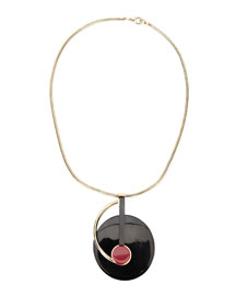 Resin Circle Pendant Necklace, Black