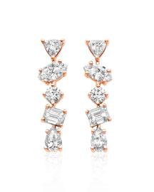 18K Rose Gold Mixed Diamond Bar Earrings