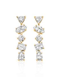 18K Gold Mixed Diamond Bar Earrings