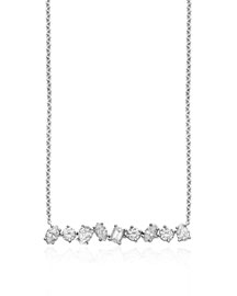 18K White Gold Mixed Diamond Bar Necklace